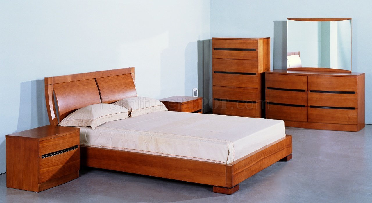 Best Teak And White Lacquer Finish Modern Two Tone Bedroom Set With Pictures