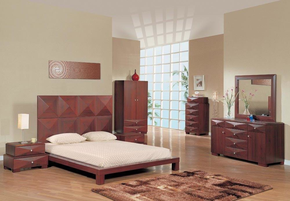 Best Milena Series Mahogany Contemporary Bedroom Set Bedroom Sets With Pictures