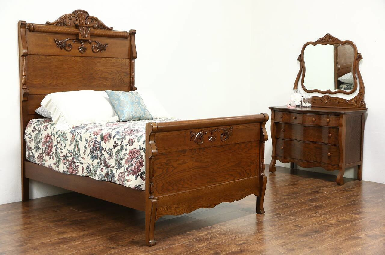Best Victorian Carved Oak Antique 1900 Bedroom Set Full Size With Pictures