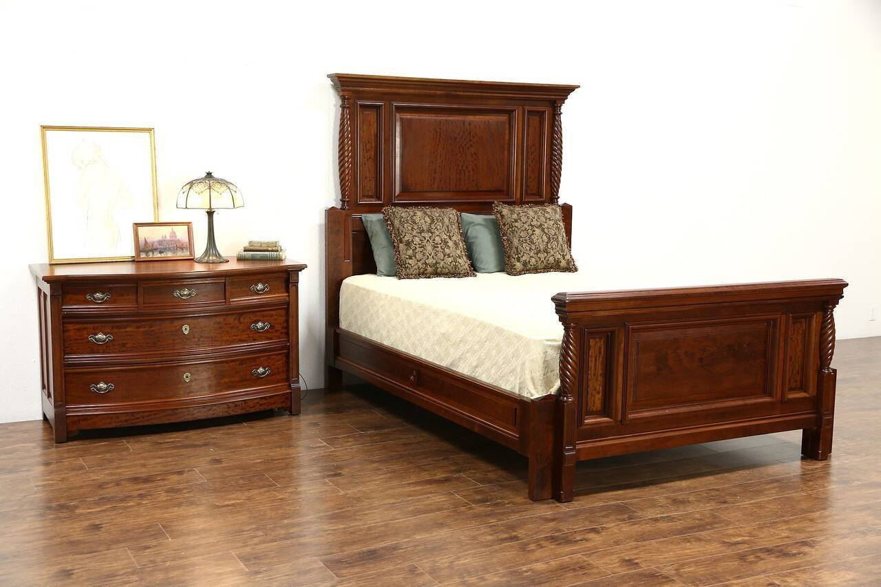 Best Queen Size 2 Pc Carved Cherry Mahogany 1890 Antique With Pictures