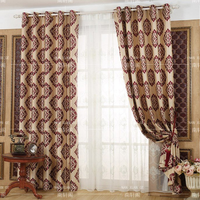 Best Red Damask Jacquard Poly Cotton Blend Insulated Bedroom With Pictures