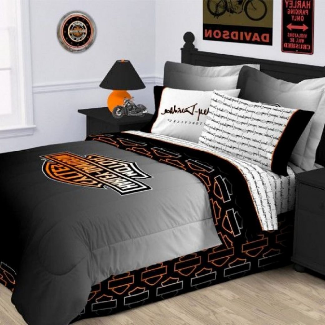 Best Inspirations Enchanting Harley Davidson Comforter Set Queen For Your Home — Iqueuesg Com With Pictures