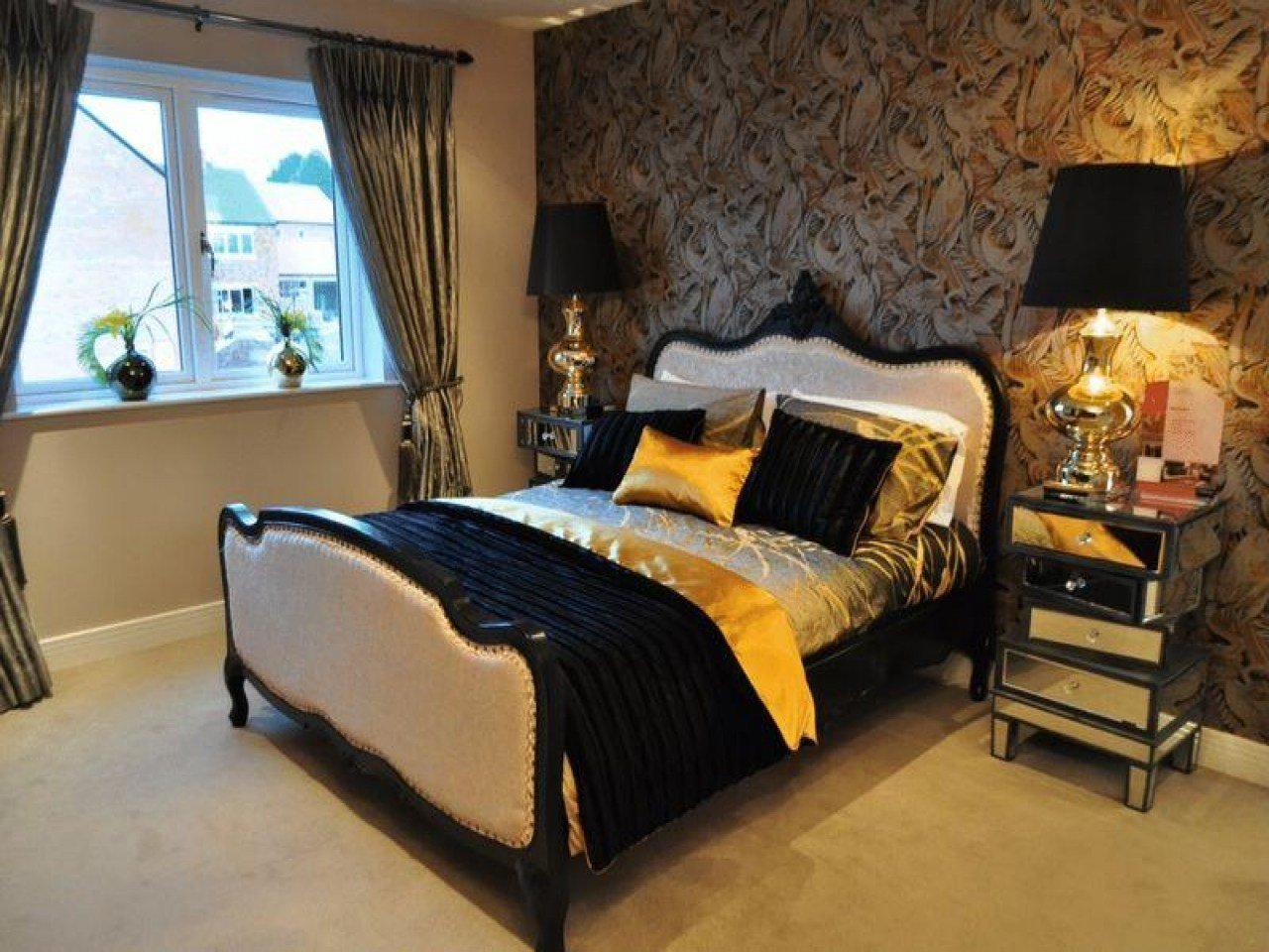 Best Orange And Brown Bedroom Pink Black And Gold Bedroom Black And Gold Bedroom Ideas Bedroom With Pictures
