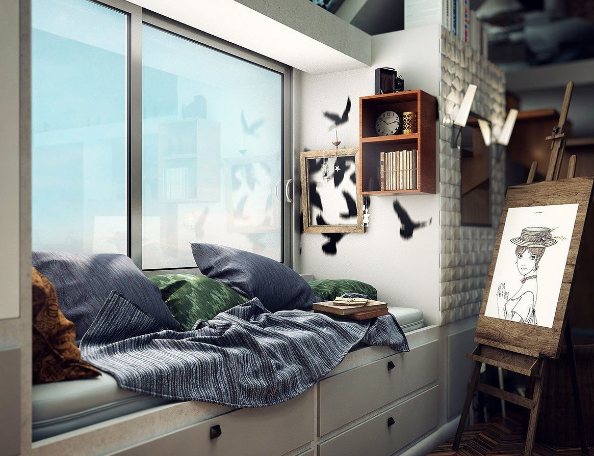 Best Compact Loft Apartment With High Ceiling Creates Extra Work Space Idesignarch Interior With Pictures