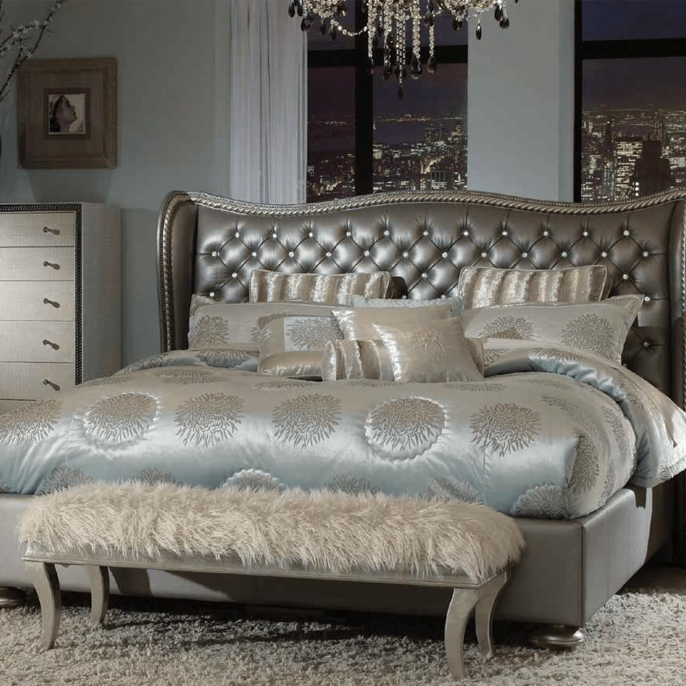 Best Michael Amini Hollywood Swank Metallic Graphite Bedroom With Pictures