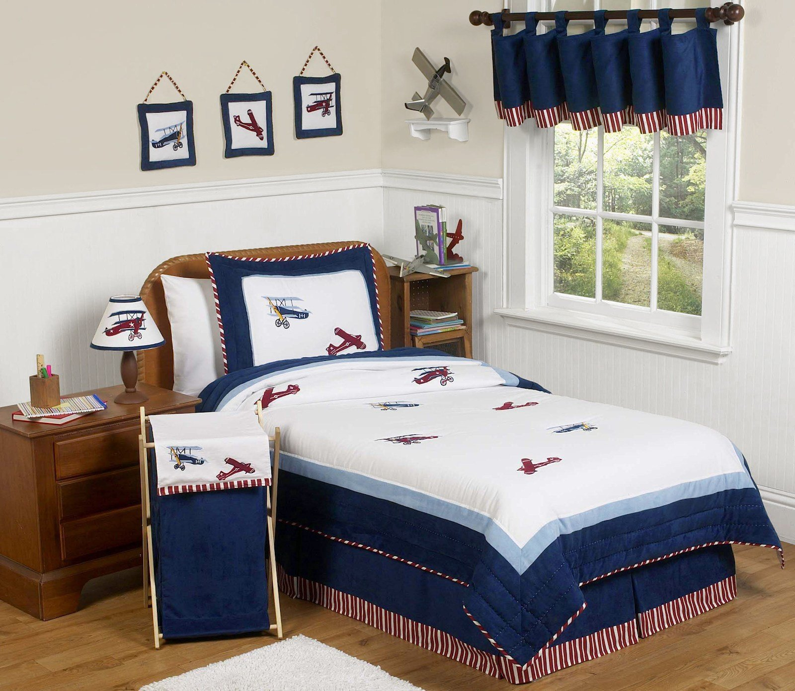 Best Blue White Airplane Boys Bedding Twin Full Queen Comforter With Pictures