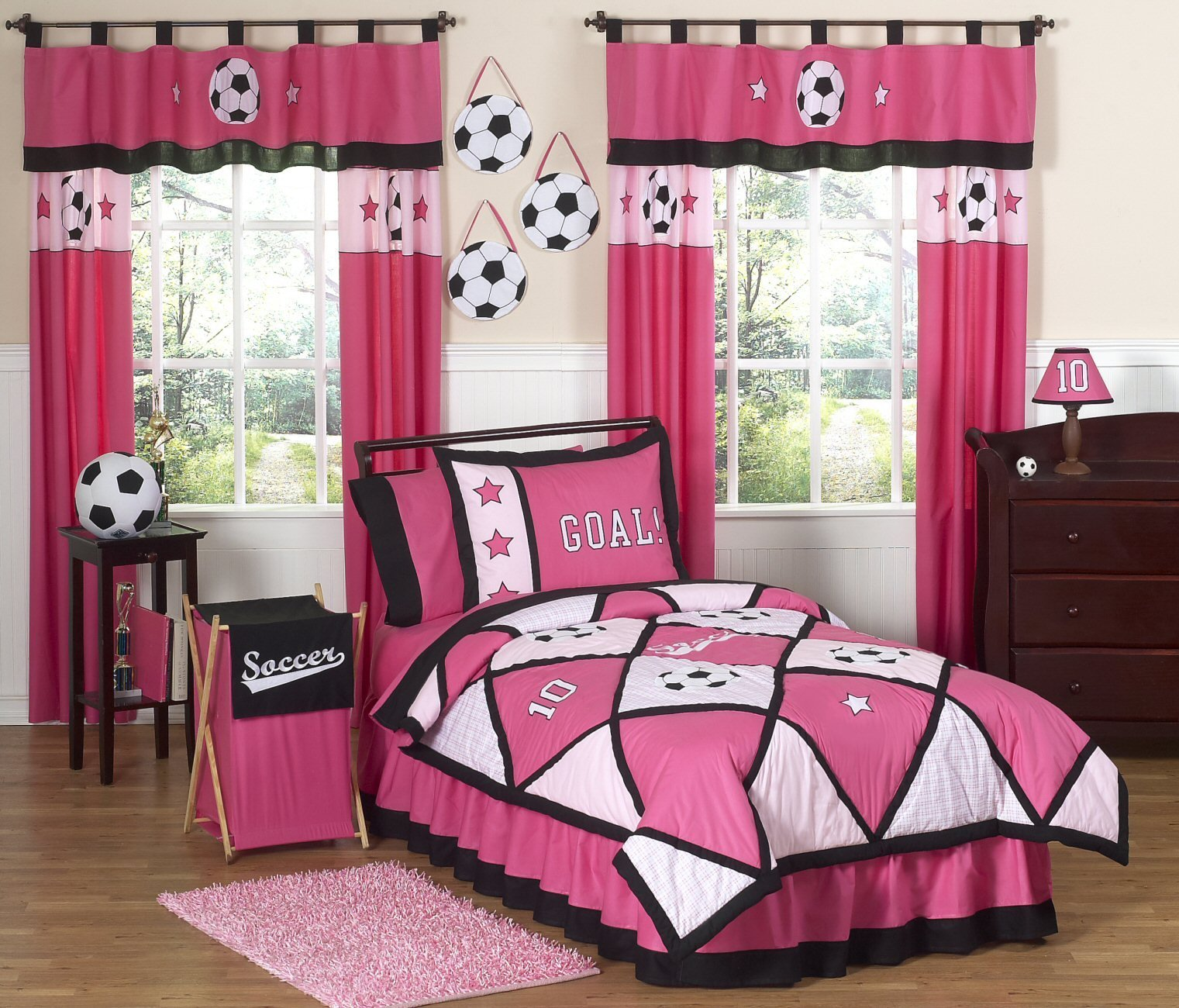 Best Pink Soccer Bedding For Girls Twin Comforter Set With Pictures