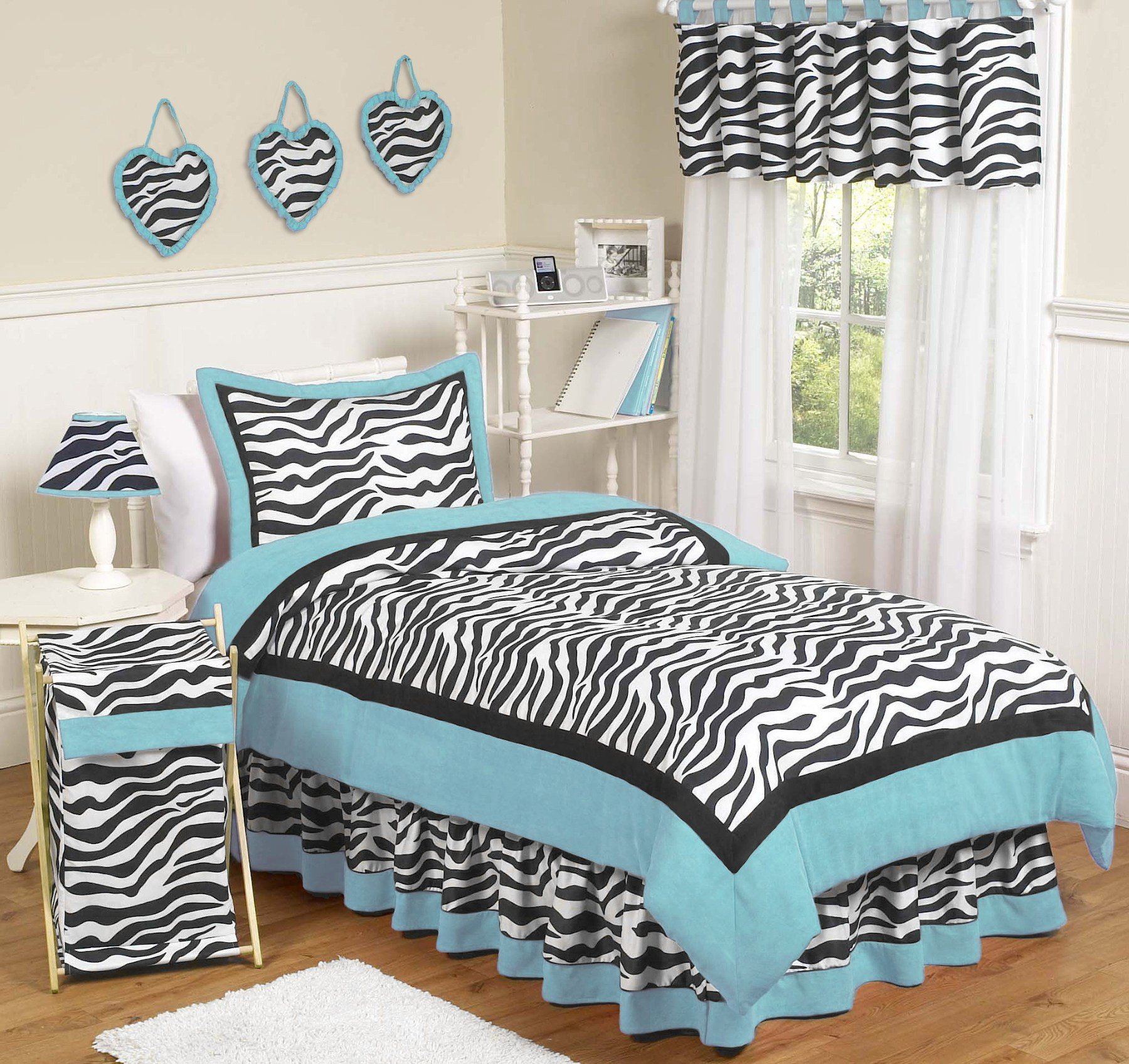 Best Blue Zebra Bedding Full Queen 3Pc Comforter Set For Girls With Pictures
