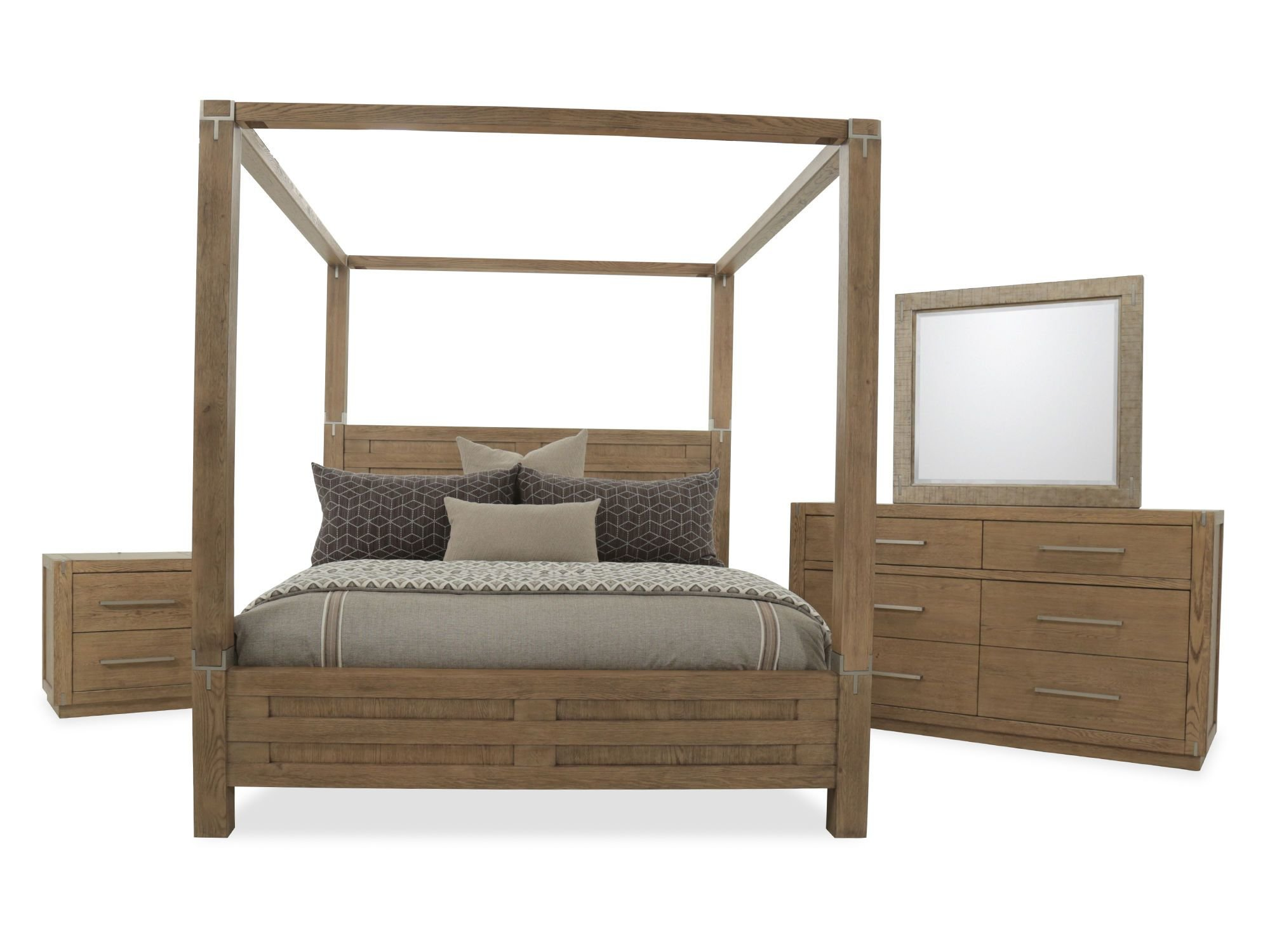 Best Four Piece Modern Canopy Bedroom Set In Brown Mathis With Pictures