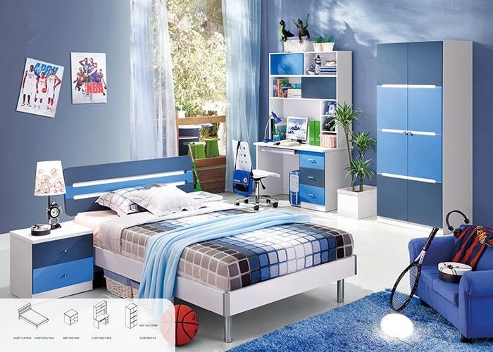 Best Blue Color Environmental Paint Kids Bedroom Furniture Sets With Pictures