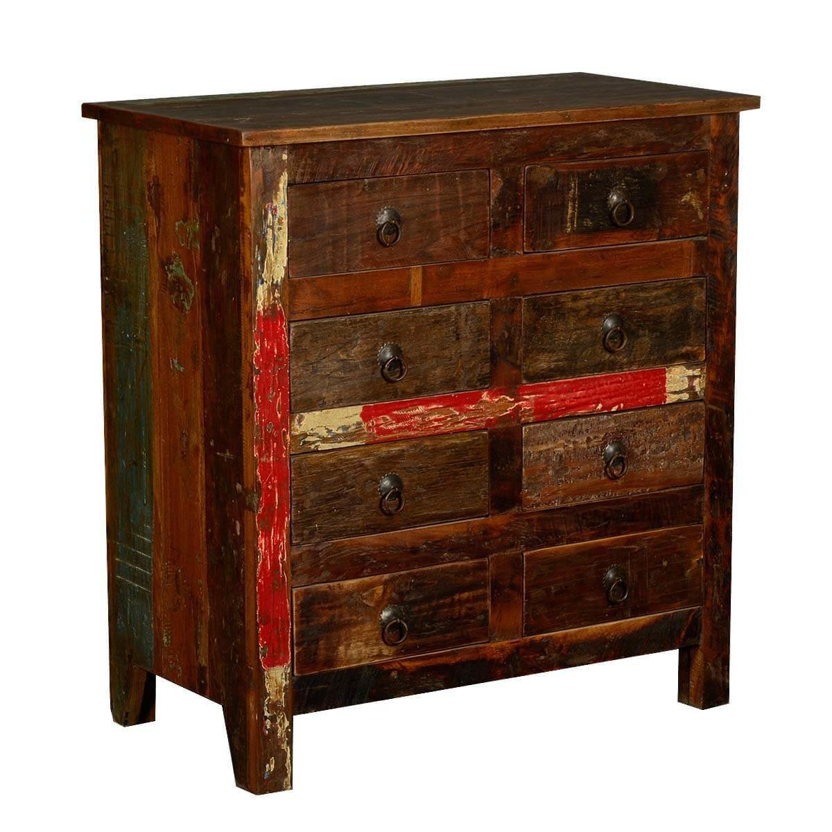 Best Rustic Reclaimed Wood 8 Drawer Double Dresser Bedroom Chest With Pictures