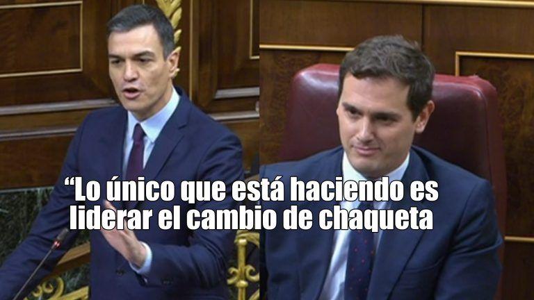 """Sánchez llama chaquetero a Rivera: """"ahora se ha puesto la que huele a naftalina, la de la ultraderecha"""""""
