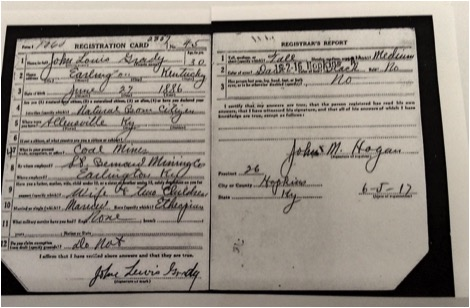 Draft registration card for John Louis Grady, Ali's maternal grandfather. Image from Ancestry.com.