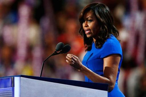 The First Lady of the United States Michelle Obama delivering her speech on Monday night of the Democratic National Convention in Philadelphia. Image from CNBC.