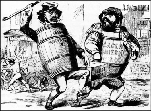 The so-called Know-Nothing Party produced virulent anti-immigrant rhetoric. Its supporters believed German and Irish immigrants were disrupting American democracy, as depicted in this ca. 1850s political cartoon, likely penned by political cartoonist John H. Goater. Original held at the New York Public Library. The author thanks Tyler Anbinder for providing the location of the original cartoon, and Jason Stacy for help in tracing the cartoon's origins, particularly in identifying its hitherto unknown artist.