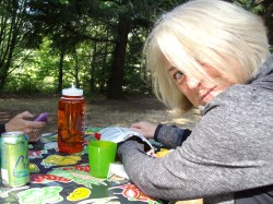 Christine hoarding picnic food...