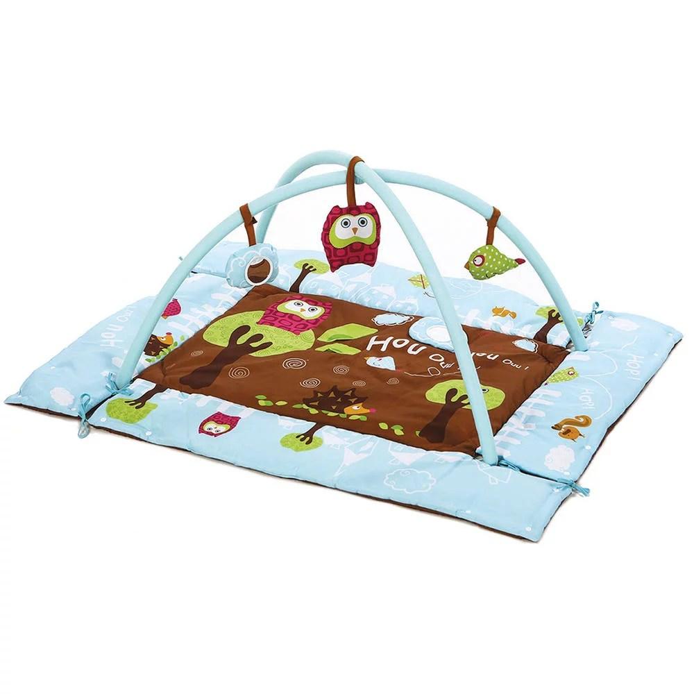 tapis d eveil chouette bleu jouets