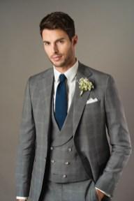 Costume 3 pièces de mariage en tissu Prince de Galles gris
