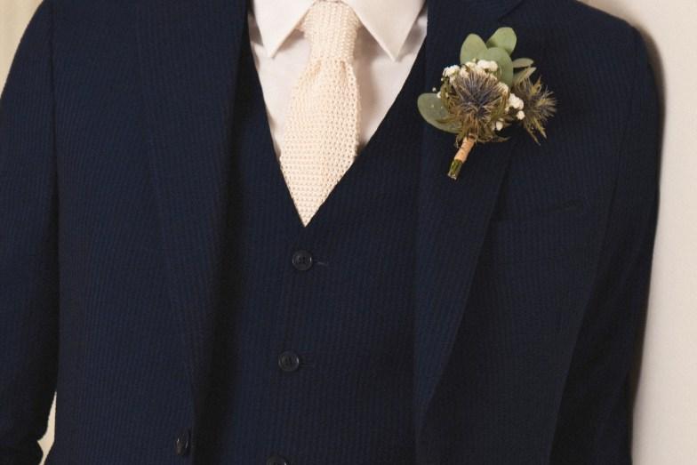 Tissu seersucker navy pour costume de mariage sur mesure