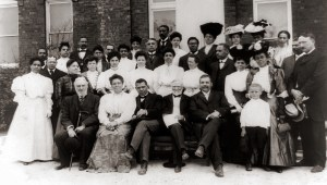 cph.3a10455 Tuskegee Institute faculty with Andrew Carnegie, Tuskegee, Alabama Shown from left to right, seated in front row: R.C. Ogden; Mrs. Booker T. Washington (Margaret James Murray Washington); Booker T. Washington; Andrew Carnegie; and an unidentified person. 1906 Frances Benjamin Johnston