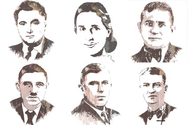Henri Bougeard - Denise Lauvergnat - Frédéric Chazottes - Georges Louis Verbeugt - Corentin Cariou - Abel Sarramiac (en haut de gauche à droite en bas gauche à droite)