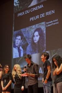 Remise du prix CCAS lors de la soirée de clôture par le jury Jeune CCAS. Il a été décerné au film de Danielle Arbid, Peur de Rien © Philippe Marini/ccas
