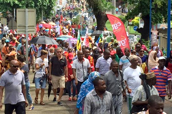 Début de la grève générale, le 30 mars 2016, à Mayotte © DR