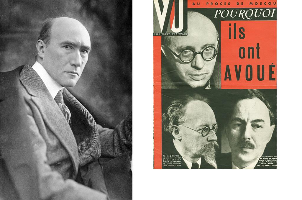 (1) Le portrait d'André Gide : ©R.Viollet/TopFoto (2) Les Proces de Moscou ( 1936-1938): portraits des trois principaux accuses, ( haut a gauche) Karl Radek ( 1885-1939), revolutionnaire bolchevique et dirigeant du Komintern, ( bas a gauche) Georgui Piatakov ( 1890-1937), bolchevique administrateur et organisateur de l'industrie sovietique et ( bas a droite) Grigory Sokolnikov (1888-1939), ancien commissaire du peuple des finances au moment de l'introduction de la nouvelle economie politique de Lenine ( Vladimir Illitch Oulianov 1870-1924) . Photographie France Presse pour la couverture de l'hebdomadaire VU, directeur Lucien Vogel (1886-1954), numero 464, date 3/2/1937. Collection Selva. © Selva/Leemage.