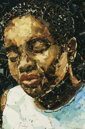Tracy Chapman, graphisme-collage, 130x95cm (Paris, 2010). Extrait de « Sous les pavés, le Gitan » ©Mustapha Boutadjine/Editions Helvétius/Artbribus/ADAGP 1114563
