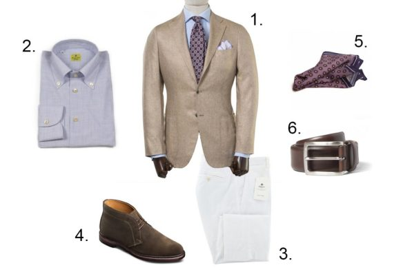 how to pair white pants and a jacket