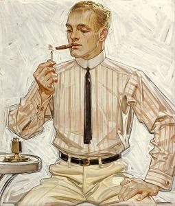 Super thin 1910's tie, in a Leyendecker Illustration.