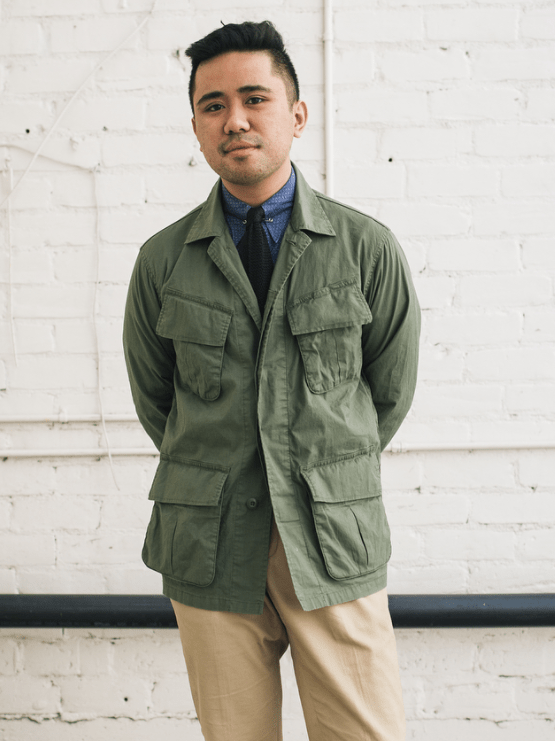 @ethanmwong wearing a vintage military jacket.