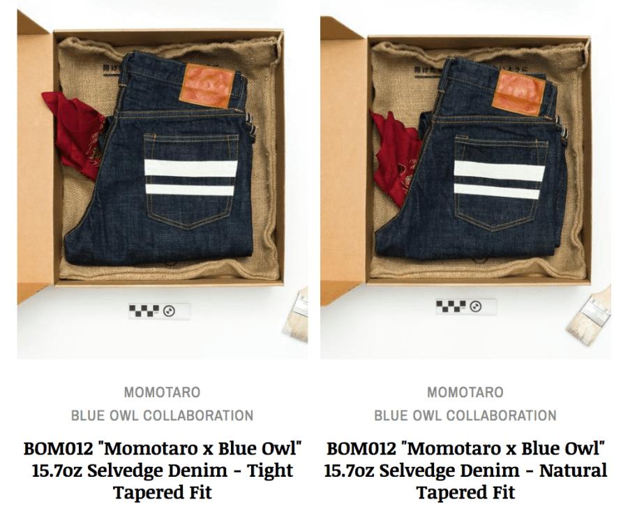 momotaro blue owl denim jeans tapered