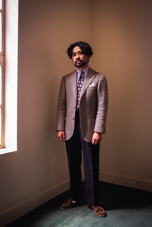 brown checked jacket Wool-Silk-Linen and tropical wool pants. Good for warm or slightly colder weather.