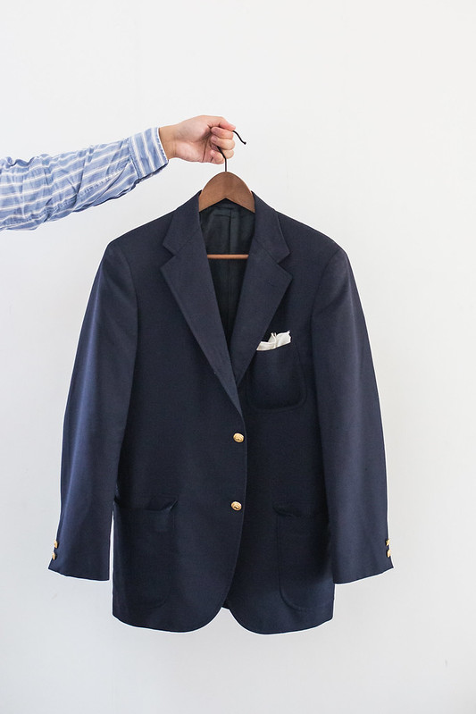 navy blazer with brass buttons
