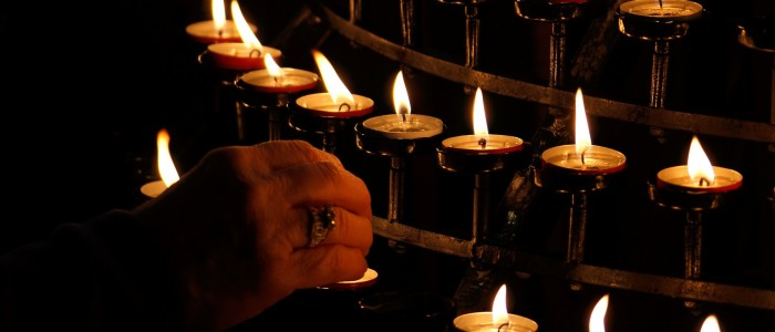 Candle lighting at church