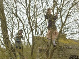 Les enfants accroché dans un saule, se font balancer par de puissantes rafales !