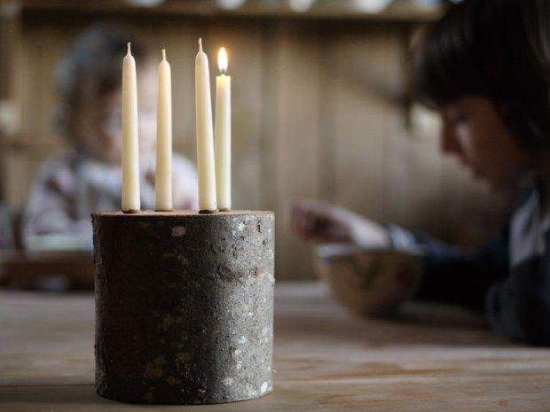 Notre bougeoir des 4 bougies des dimanches de l'avent