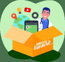 Une illustration de l'Annuaire du Burnout, représentant une boîte contenant de bonnes adresses, des vidéos, outils en ligne et professionnels de santé