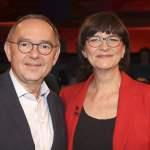 Norbert Walter-Borjans und Saskia Esken bei der Aufzeichnung der ZDF-Talkshow Markus Lanz im Fernsehmacher Studio auf de