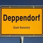 Ortseingangsschild von Deppendorf Stadt Bielefeld Nordrhein Westfalen Deutschland Europa iblszi0