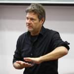 Bundesvorsitzender der Grünen Robert Habeck beim Impulsvortrag an der Universität Bayreuth. Einladung durch die Grüne Ho