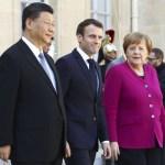 Sortie de XI Jinping President de la Republique populaire de Chine Emmanuel Macron President