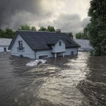 Flooding,Houses,With,Rising,Water.,3d,Rendering