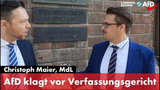 AfD klagt vor bayerischem Verfassungsgericht; Bild: Startbild Youtube AfD Bayern