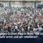 Protest gegen Grünen Pass in Rom; Bild: Startbild Youtubevideo RT DE