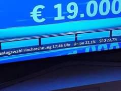 Ergebnisse der Hochrechnung testweise versehentlich am Freitag eingeblendet...; Bild: Foto: ARD Sendung am 24.09.2021
