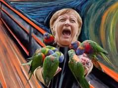 Der Schrei von Angela Merkel; Bild: Spiegelbild.news