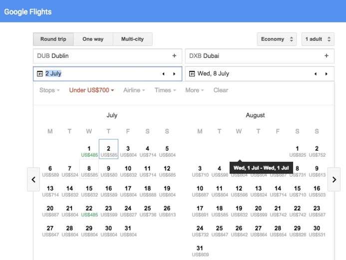 google-flight-dates