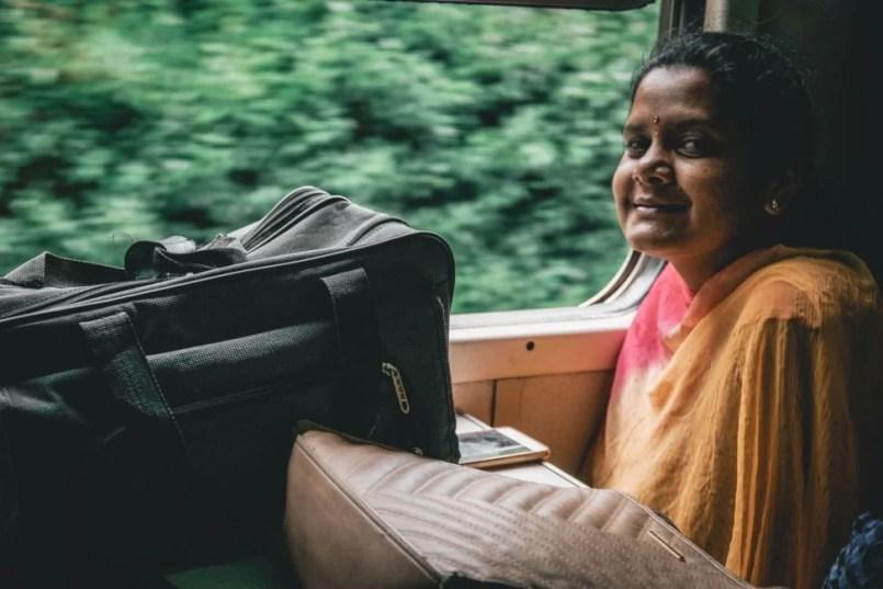 woman on train Sri Lanka